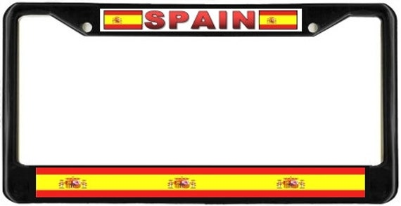 Spain spanish flag sx2 metal license plate frame by blingsity - Steel framing espana ...