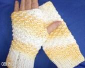hand knitted all season in stunning cotton fingerless gloves yellow