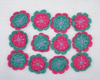 crochet applique flowers  handmade with pink/aqua/purple cotton thread  --  1078