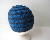 bright blue hand knit merino wool hat