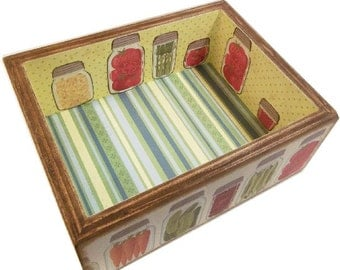 Recipe Box or Kitchen Storage Organization Box, LARGE Trinket, Coffee Table Box, Will Hold 5 x 7 Cards Flat, MADE To ORDER