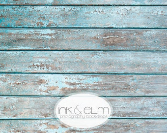 "Photo Backdrop 4ft x 3ft, Vinyl Photography Backdrop, Vintage wood planks, Rustic planks,  Aqua planks, Distressed floor, ""Boardwalk Planks"""