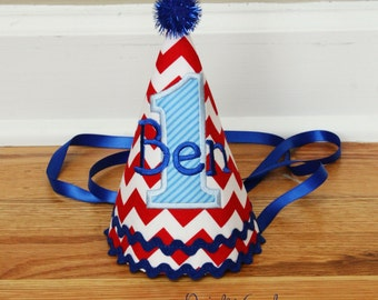 Boys 1st Birthday Party Hat - Red chevron with blue accents - Free personalization