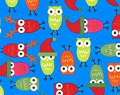 FABRIC SALE,  Christmas Fabric, Holiday Fabric, Jingle 2 by Ann Kelle Owls Bright Santa, Fabric by the Yard, FABRIC Closeout Sale