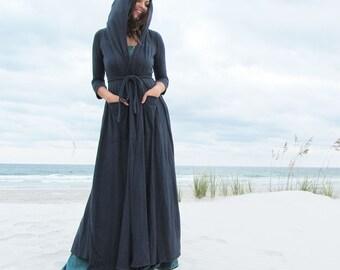 ORGANIC Hooded Perfect Pockets Belted Long Cardigan ( LIGHT hemp/organic cotton knit ) - organic hemp jacket