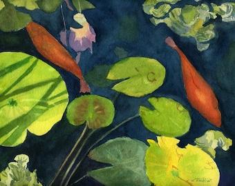 Watercolor original painting Orange Koi Fish Lily Pads Landscape