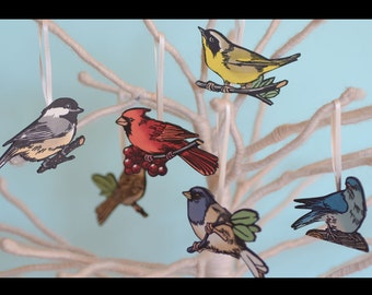 Letterpress Christmas bird ornaments, FLOCK set of 6, made from hand-painted linocut prints