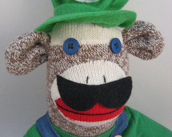 Luigi Mario sock monkey MADE TO ORDER