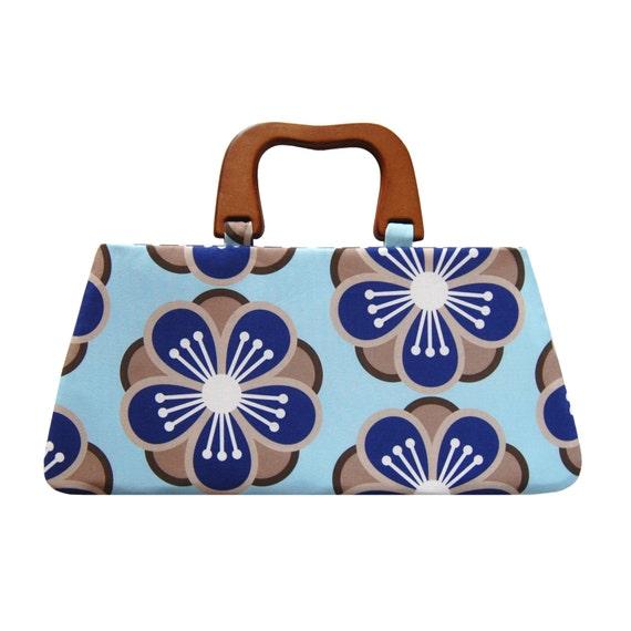 Top handle bag, Blue handbag with handle, Handle handbag, Designer fabric bag, Blue floral purse, Sakura handbag, Handmade fabric purse