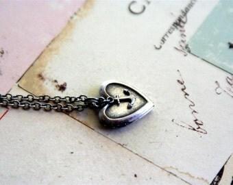 anchor. locket necklace. in silver ox mini version