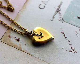 mini anchor. locket necklace. in gold ox