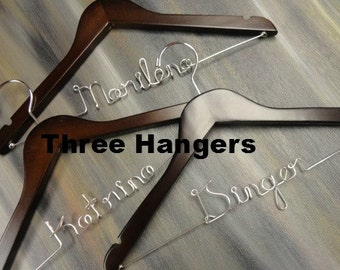 Wooden Hangers - Custom Wood Hangers - Bridesmaid Hangers - Personalized Hangers - Bridesmaid Gift Idea - Set of Hangers - Complete Set