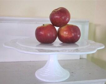 Milk Glass Cake Stand - Harvest Grape - Indiana Glass