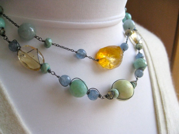 Two strand chocker necklace, mixed gemstone necklace, Aquamarine Citrine necklace, blue necklace, fine jewelry