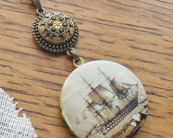 50% Off Sale Antique Button Locket Necklace- Tall Ship