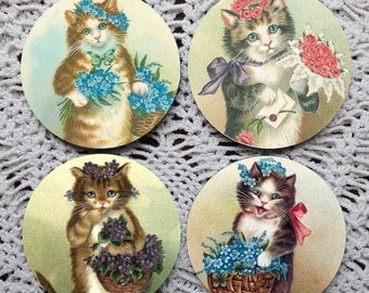 Cats and Posies -- Cat Mousepad Coaster Set