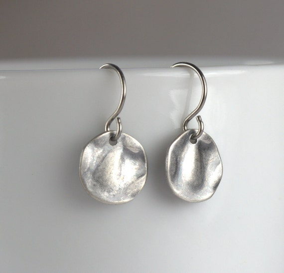 tiny antique silver dangle earrings hammered by theresarose