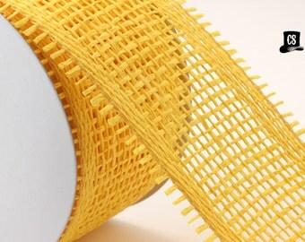 "Yellow Burlap Ribbon - 3 yards - 2.75"" wide - woven paper - weddings, gift wrap, home decor"