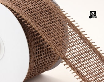 "Brown Burlap Ribbon - 3 yards - 2.75"" wide - woven paper - weddings, gift wrap, home decor"