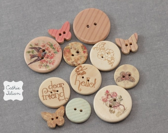Wood Buttons - Prima Fairy Rhymes - 12 pcs - floral, stripe, butterfly, bird - Scrapbooking, Embellishments, Sewing