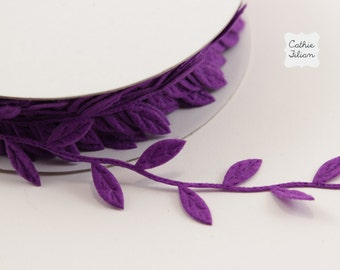 3 Yards Leaf Ribbon - Purple Felt - Scrapbooking, Gift Wrapping, Trim, Wedding