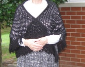 RESERVED for Julie Atkinson-Black Wool Triangle Crochet Shawl