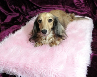 """Dog Bed - Cotton Candy Pink Minky Shag - 19"""" x 25"""" With 3"""" Memory Foam Pad - 4colors to choose from"""