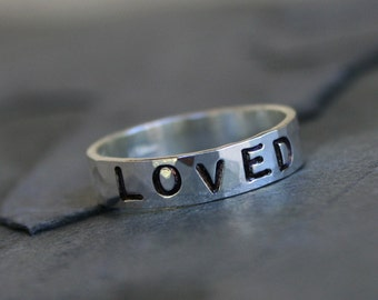 Custom Stamped Ring, Sterling Silver Stacking Ring, Personalized Hand Stamped Mothers Ring, Handstamped