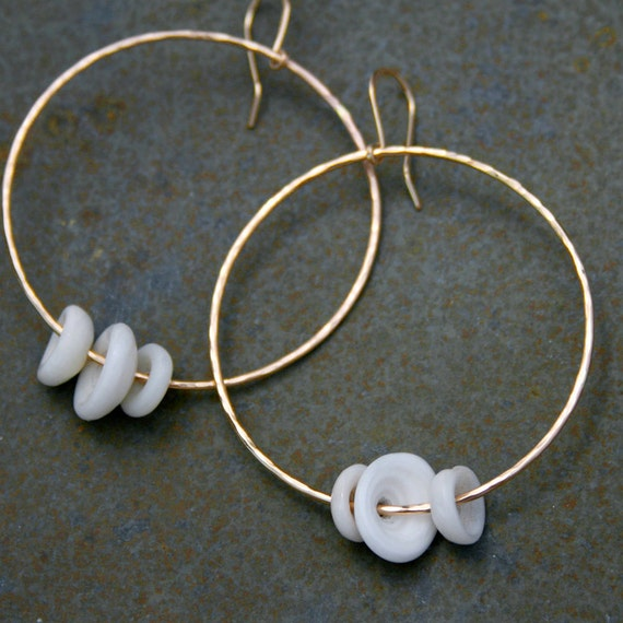 14k gold filled Puka Shell Hoops, Dangle Earrings, Hawaiian Jewelry, Eternity Hoops, Island Style Summer Resort Wear