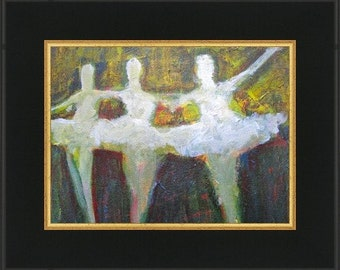 Dancing In LIght, Abstract impressionist ballet acrylic  original painting