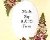 Ivory  Mat fits any  8 x 10 frame with Real Pressed Flowers, Roses with a Oval opening