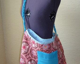 Aqua Tote Bag,vintage recycled fabric,handmade,large tote bag,braided strap,aqua pocket,unique tote bag,accessories,hippie boho,shoulder bag