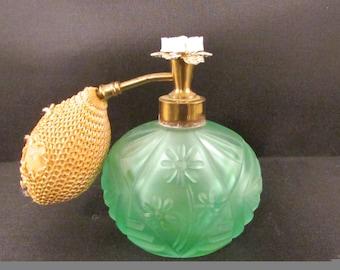 I.W. Rice 1940's Green Glass Perfume Bottle