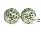 NYC Antique Map Cufflinks 1899