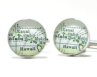 Kauai Antique Map Cufflinks