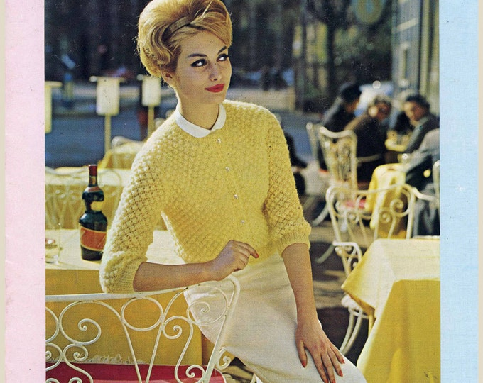 Vintage 60s Knitting patterns Womens Mens Sweater coat and dress collection Reynolds No 2401
