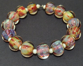 Artisan Lampwork Glass Beads Set Handmade Round Pink, Yellow & Blue Beads Lush