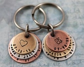 His and Hers Personalized Key chains, Custom Couples, Wedding gift, Anniversary gift, Custom Coordinates, Latitude Longitude GPS Coordinates