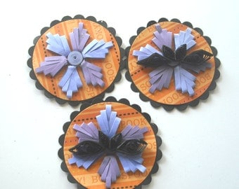 Quilled Flower and Bat Gift Tags, Orange, Purple, and Black, Halloween Embellishments, Halloween Tags, Flower Tags, Quilled Bat Tag