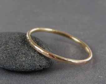 Skinny gold ring, Solid gold, 10k gold ring,  Petite,  gold stack ring, 1.3mm, hammered gold ring, Gold promise ring, thin gold ring