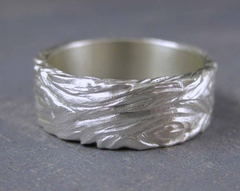 Tree bark ring, hand carved ring, unique sterling silver ring, engravable wedding band, personalized ring, mens wedding band, metalwork ring