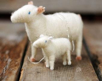 Mama Sheep and Baby Lamb Ornament Duo - Needle Felted Christmas Gift Set