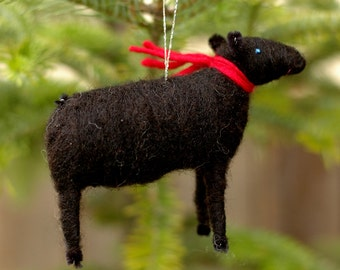 Black Sheep with a Scarf - Needle Felted Christmas Ornament