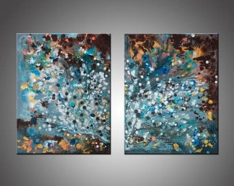 Modern Universe 2 - Original Painting, Abstract Modern Art, Canvas Wall Art, Abstract Painting, Blue Gray Turquoise White Silver Copper Gold