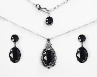 Black Swarovski Jewelry Set Swarovski Necklace Ring Earrings Gothic Jewelry goth Jewellery Black Necklace Silver