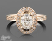 14kt Rose Gold Oval Diamond Engagement Ring with side halo and eternity band - LS2424