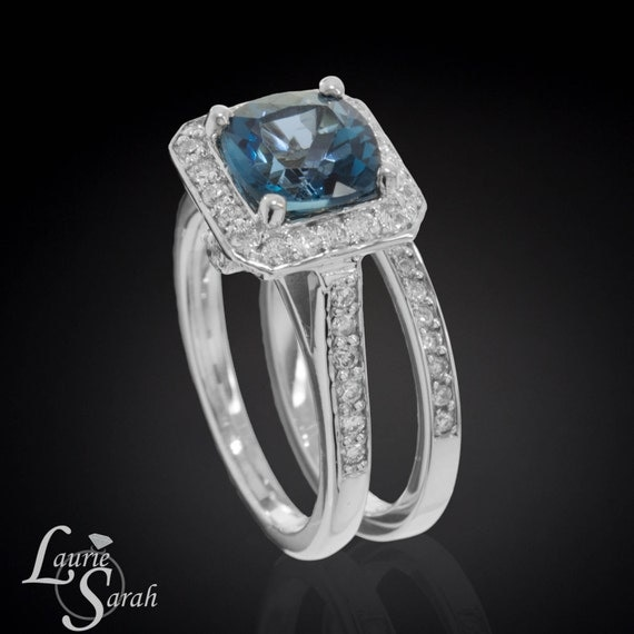 Wedding ring set 25 carat london blue topaz engagement ring for Blue topaz wedding ring sets