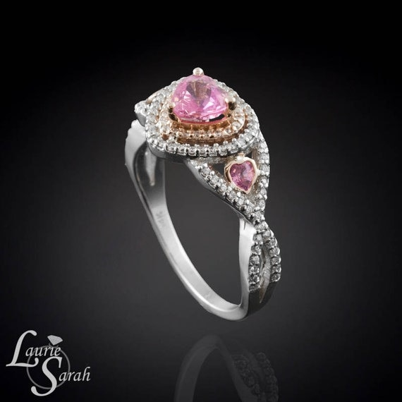 Heart Shaped Pink Sapphire and Diamond by LaurieSarahDesigns