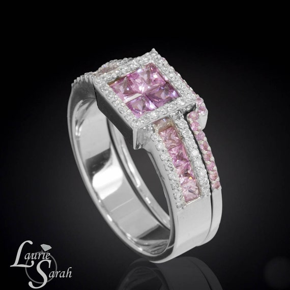 Pink Sapphire Engagement Ring, Pink Sapphire and Diamond Engagement and Wedding Ring Set - LS947