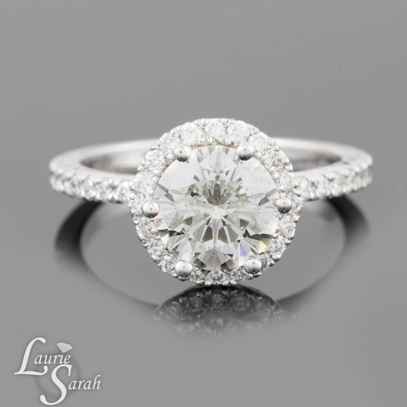 Diamond Engagement Ring, Statement Ring, Diamond Halo Ring, Unique Engagement Ring in 14kt White Gold - LS925